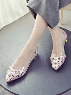 Pink and Gold Leather Pointed Toe Low Heel Chunky Heel Heels