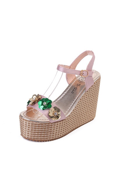 Pink Green and Gold Leather Open Toe Platform Ankle Strap 12cm Wedges