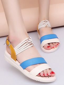 Cream Brown and Blue Leather Open Toe Ankle Strap Sandals