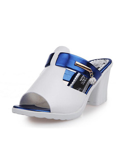 White and Blue Leather Peep Toe High Heel Chunky Heel 7.5cm Heels