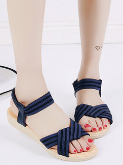 Blue and Cream Canvas Open Toe Ankle Strap Sandals