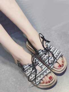 Black and Cream Canvas Open Toe Ankle Strap Sandals