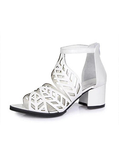 White Leather Open Toe High Heel Chunky Heel 6cm Heels
