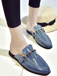 Blue and Black Patent Leather Round Toe Flats