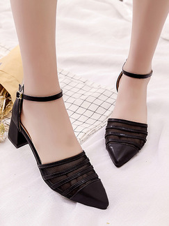 Black Leather Pointed Toe High Heel Chunky Heel Ankle Strap 5cm Heels