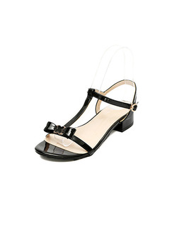 Black Patent Leather Open Toe Low Heel Chunky Heel Ankle Strap 3.5cm Heels