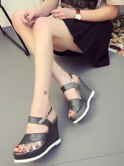 Black and White Leather Peep Toe Platform Ankle Strap 10cm Wedges