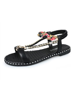 Black Gold and Pink Leather Open Toe Ankle Strap Sandals