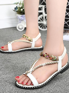 White Colorful Leather Open Toe Ankle Strap Sandals