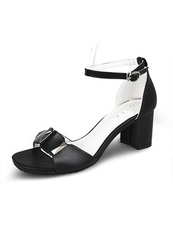 Black Leather Open Toe High Heel Chunky Heel Ankle Strap 6.3cm Heels