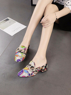 Colorful Leather Round Toe High Heel Chunky Heel 4.5cm Heels