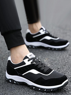 Black and White Leather Comfort Shoes for Casual Outdoor Athletic