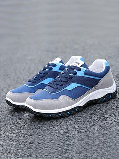 Blue Grey and White Leather Comfort  Shoes for Casual Athletic Outdoor
