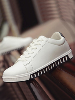 White and Black Leather Comfort  Shoes for Casual Outdoor