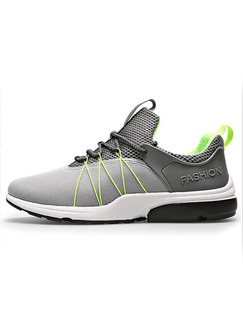 Grey Green and White Leather Comfort  Shoes for Athletic Outdoor Casual