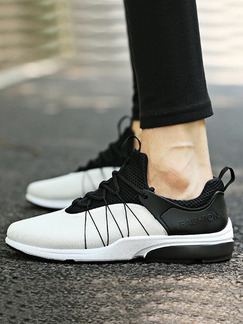 White and Black Leather Comfort  Shoes for Casual Athletic Outdoor
