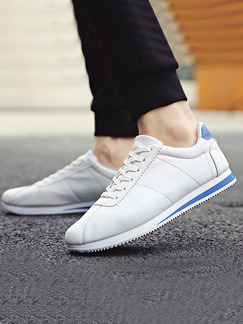 Blue and White Leather Comfort Shoes for Casual Outdoor