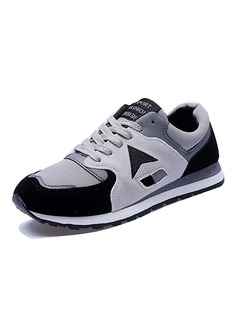 Grey and Black Leather Comfort  Shoes for Casual Athletic Outdoor