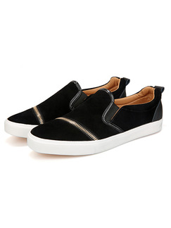 Black and White Suede Comfort  Shoes for Casual Outdoor
