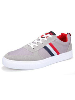 Grey Blue Red and White Canvas Comfort Shoes for Casual Outdoor