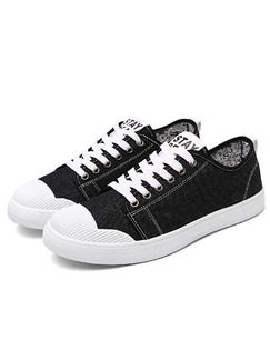 Black and White Canvas Comfort  Shoes for Casual