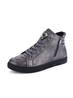 Grey and Black Leather High Tops  Shoes for Casual