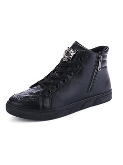 Black Leather High Tops  Shoes for Casual