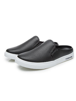 Black and White Leather Scuff  Shoes for Casual