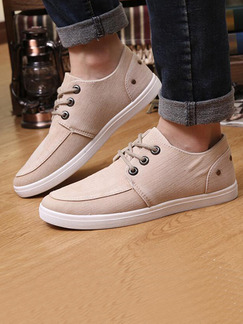 Beige and White Canvas Comfort  Shoes for Casual Office Work