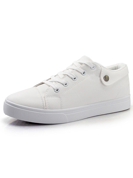 White Leather Comfort  Shoes for Casual Office Work