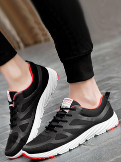 Black White and Red Canvas Comfort  Shoes for Casual Athletic
