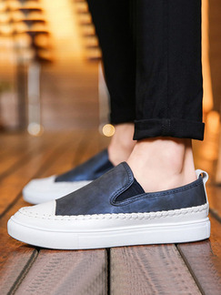 Blue and White Leather Comfort  Shoes for Casual