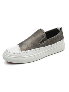 Grey and White Leather Comfort  Shoes for Casual