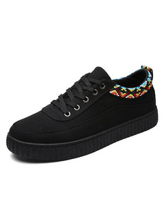 Black Colorful Canvas Comfort  Shoes for Casual Office Work