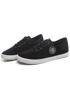 Black and White Canvas Comfort  Shoes for Casual Office Work