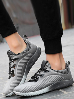 Grey Leather Comfort  Shoes for Casual Athletic