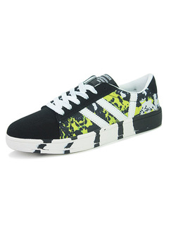 Green White and Black Canvas Comfort  Shoes for Casual Athletic
