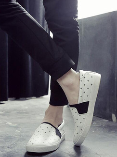 White and Black Canvas Comfort  Shoes for Casual Office Work