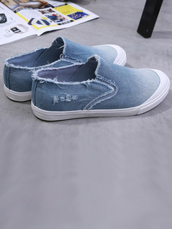 Blue and White Canvas Comfort Shoes for Casual Outdoor