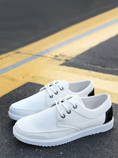 White and Black Canvas Comfort  Shoes for Casual Outdoor Office Work