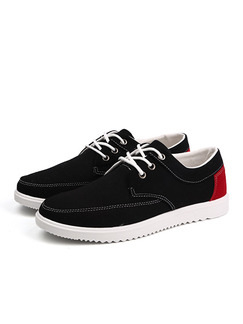 Black Red and White Canvas Comfort  Shoes for Casual Outdoor Office Work
