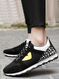 Black White and Yellow Leather Comfort Shoes for Casual Athletic Outdoor