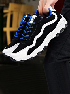 Black White and Blue Leather Comfort  Shoes for Casual Athletic Outdoor