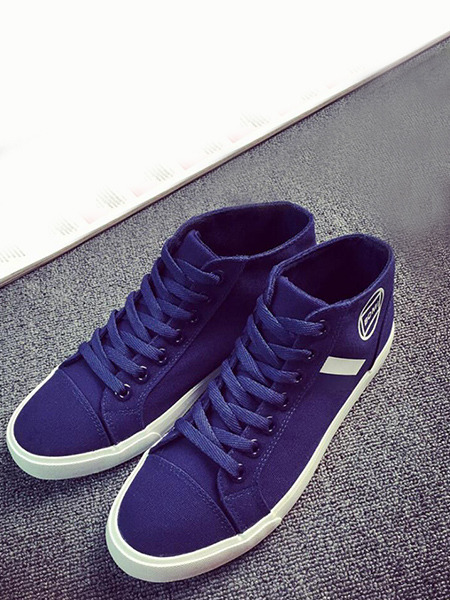 Blue Canvas Comfort High Tops  Shoes for Casual