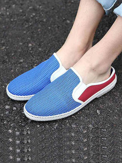 Blue and Red Canvas Slide Scuff  Shoes for Casual