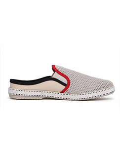 Grey and Red Canvas Slide Scuff  Shoes for Casual