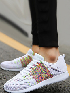 White Colorful Suede Comfort  Shoes for Casual Athletic