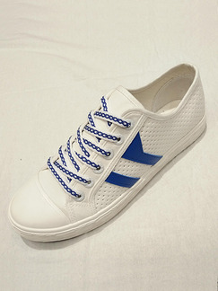 White and Blue Suede Comfort  Shoes for Casual Athletic