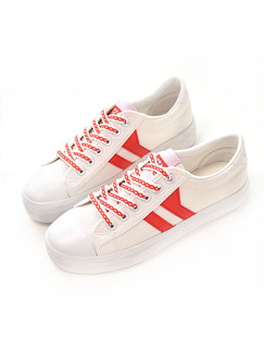 White and Red Suede Comfort  Shoes for Casual Athletic