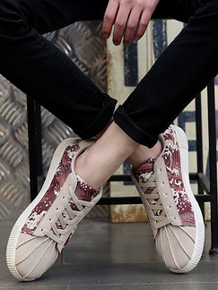 Beige Red Suede Comfort  Shoes for Casual Athletic